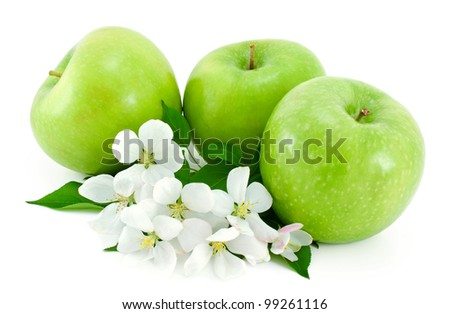 Some ripe,green apples and white flowers with young green leaves isolated on white background. - stock photo