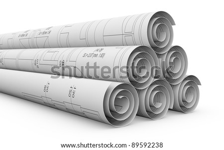 some rolled plan projects, it is a house project (3d render) - stock photo
