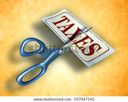 Some scissors are cutting a piece of paper with the word taxes. Digital illustration. Included clipping path allows to isolate objects from background. - stock photo