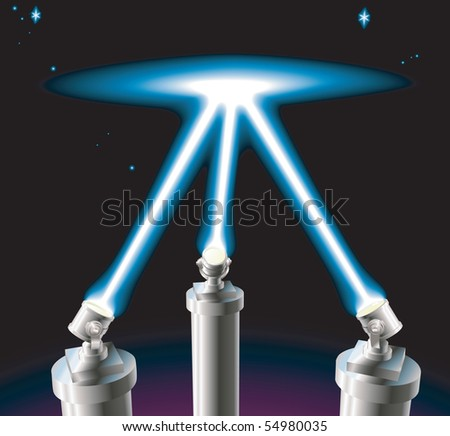 Some searchlights or spotlights lighting up the starry night sky. No meshes used. - stock photo