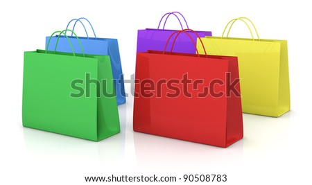 some shopping bags in different colors (3d render)