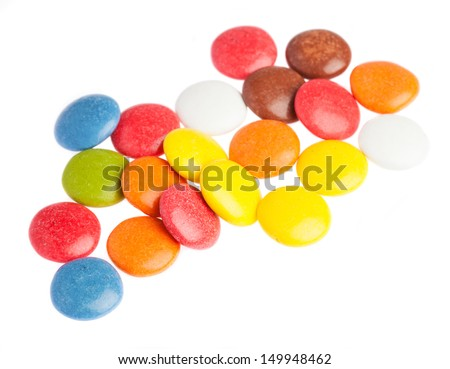 some smarties closeup on a white background - stock photo