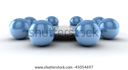 Some spheres around a table as concept for a meeting - stock photo