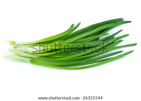 Some spring onion isolated on the white background - stock photo