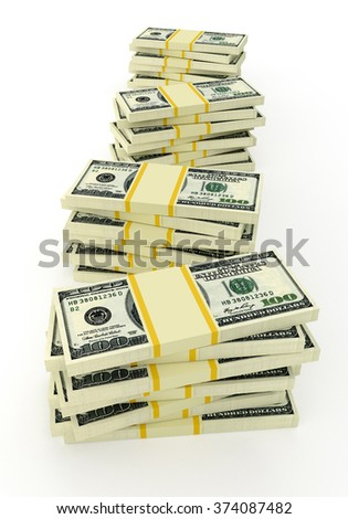 Some stacks of money. 100 dollars banknotes - stock photo