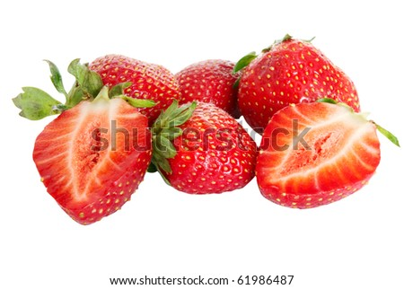 Some strawberries are isolated on a white background - stock photo