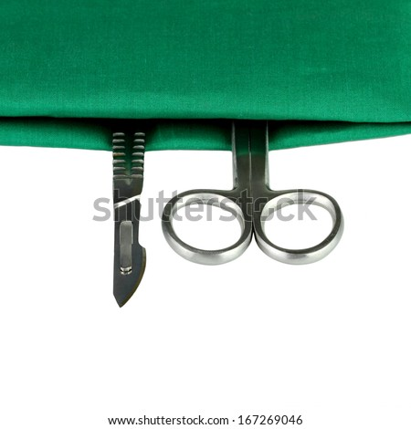 some surgical tools, selective focus - stock photo