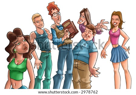 some teenagers talking and one of them has a book in his hand - stock photo