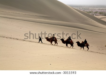 Some travelers pass through the desert by camels. - stock photo