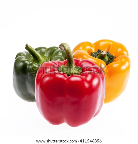 some  vegetables of colorful peppers isolated on white background, close up - stock photo