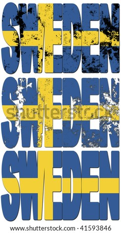 some very old grunge flag of sweden made of name of country