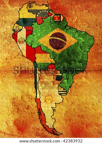 some very old grunge flags of south american countries - stock photo