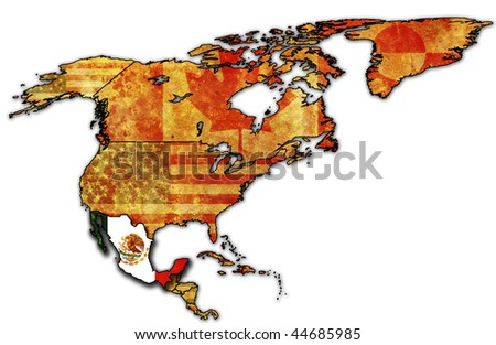 some very old grunge map of mexico - stock photo
