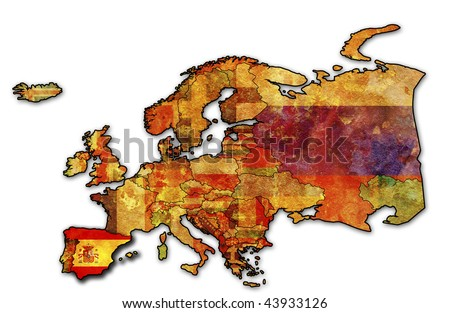some very old grunge map of spain with flag on map of europe