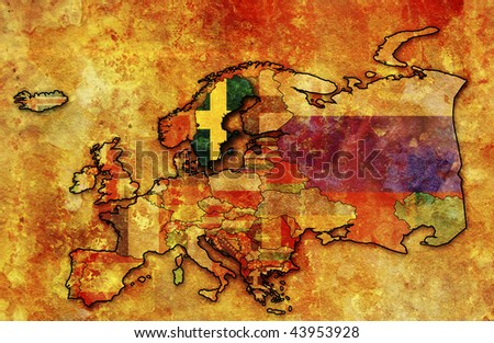some very old grunge map of sweden with flag on map of europe
