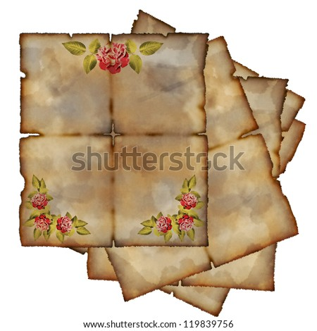 Some vintage blanks with roses on a white background - stock photo