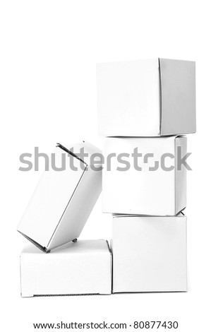 some white cardboard boxes on a white background - stock photo