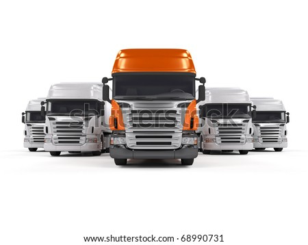 Some white trucks and one red leader truck isolated on white