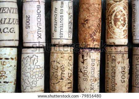 some wine corks from France - stock photo