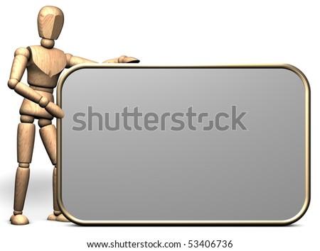 Somebody hold a big empty presentation display - stock photo