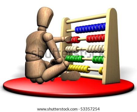 Somebody solves a complicated problem with the abacus on the red stage - stock photo