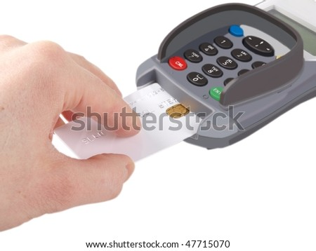Someone inserting a debit-/credit-card with chip into a payment terminal, on white background - stock photo