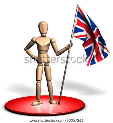Someone is holding a big UK flag on the red stage - stock photo