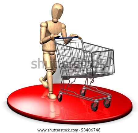 Someone is shopping with a shopping trolley - stock photo