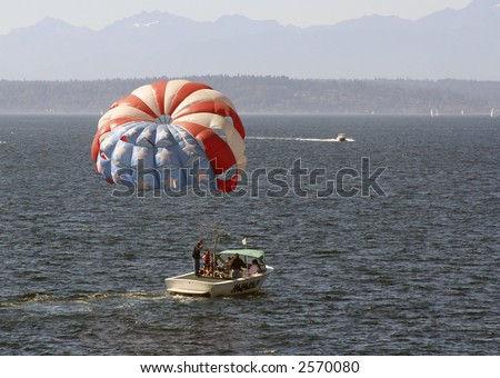 Someone parasailing in Boston. - stock photo