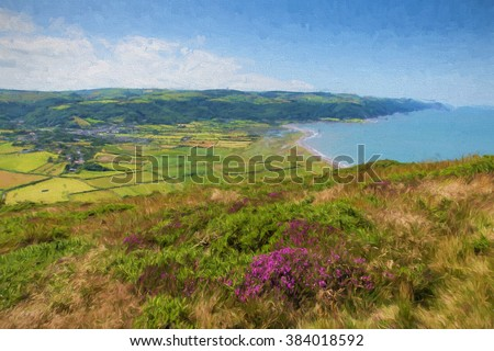 Somerset countryside and coast Porlock England uk from the walk to Bossington beautiful country scene near Exmoor on the south west coast path illustration like oil painting