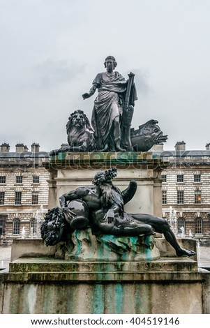 Somerset House - large Neoclassical building (design Sir William Chambers, 1776) in central London, overlooking River Thames. Somerset House - one of the major art and culture center in London. - stock photo