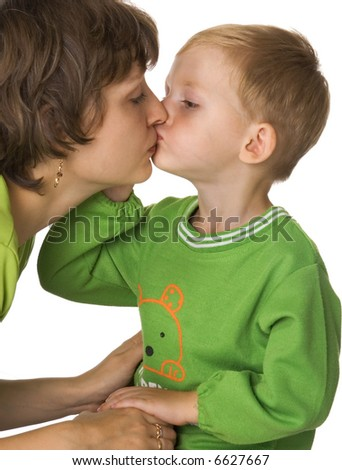 Son kisses mother - stock photo
