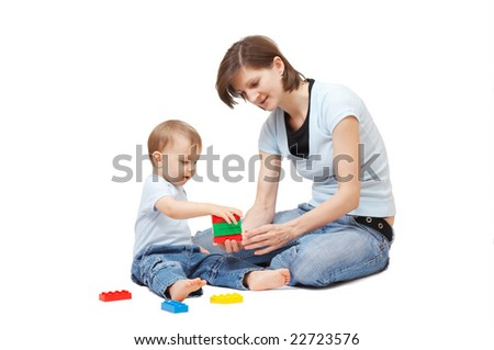 son playing with his mother - stock photo