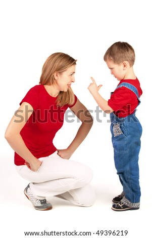 Son scolds his mother on white background
