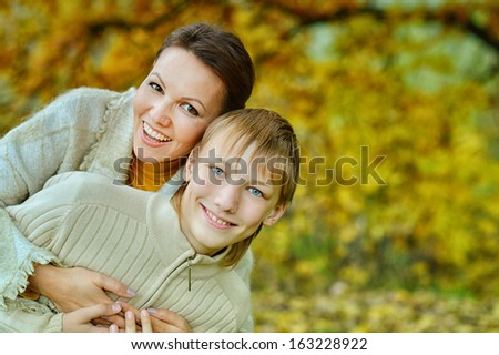 Son with his mom at the nature