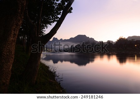 Song river at Vang Vieng, Laos - stock photo