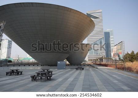 Songdo,South Korea - February 19, 2015: Songdo Central Park in Songdo International Business District - stock photo