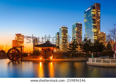 Songdo,South Korea - March 09, 2015: Songdo Central Park in Songdo International Business District, Incheon South Korea - stock photo