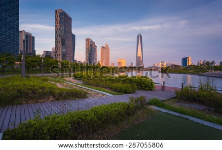 Songdo,South Korea - May 17, 2015: Songdo Central Park in Songdo International Business District, Incheon South Korea.