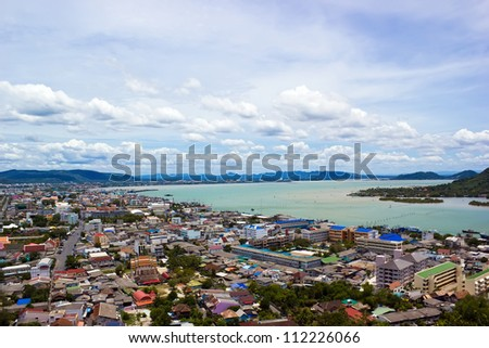 Songkhla city and lake and sky - stock photo