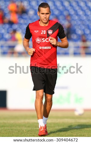 SONGKHLA THAILAND-APRIL20:Mario Gjurovski of Muangthong Utd in action during Toyota League Cup 2015 between Songkhla United and Muangthong Utd at Tinsulanon Stadium on April 20,2015 in Thailand