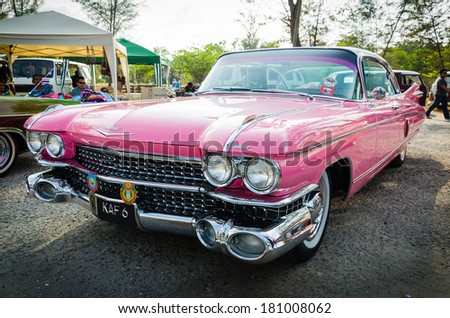 "SONGKHLA, THAILAND - March 09 :  Cadillac Series Sixty Special Fleetwood in ""Songkhla Car Club Show 2014"" at Samila beach on March 09,2014 in Songkhla, Thailand. - stock photo"