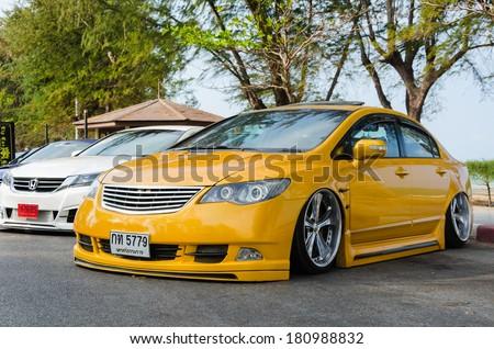 "SONGKHLA, THAILAND - March 09 : Tuned car Honda civic in ""Songkhla Car Club Show 2014"" at Samila beach on March 09,2014 in Songkhla, Thailand. - stock photo"