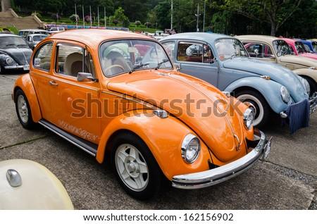 """SONGKHLA, THAILAND - November 09 : Vintage Volkswagen  car Meeting in """"Malaysian Green Camping"""" at Hatyai Park on November 09,2013 in Songkhla, Thailand. - stock photo"""