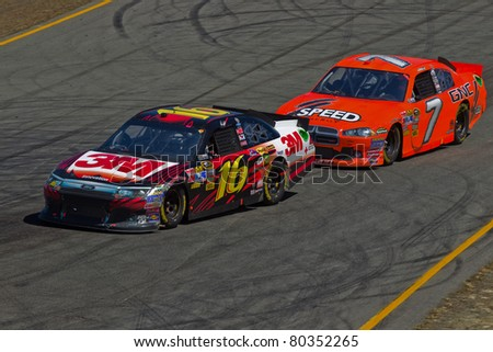 SONOMA, CA - JUNE 26: Greg Biffle (16) neck and neck with Robby Gordon (7) during 2011 Toyota/Save Mart 350 Commercial, the NASCAR Sprint Cup Series race on June 26, 2011 Infineon Raceway, Sonoma, CA.