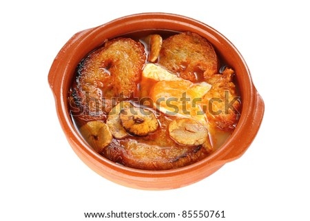 sopa de ajo , castilian garlic soup , spanish food