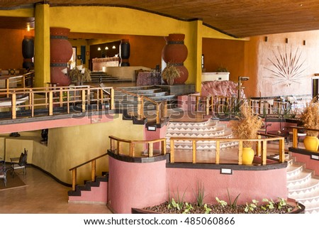 SOPA LODGE SERENGETI TANZANIA - MAY 28 2013: Interior of Sopa Lodge, a hotel inside the Serengeti national Park. Place for the tourists who want to explore, it's a haven for safaris.
