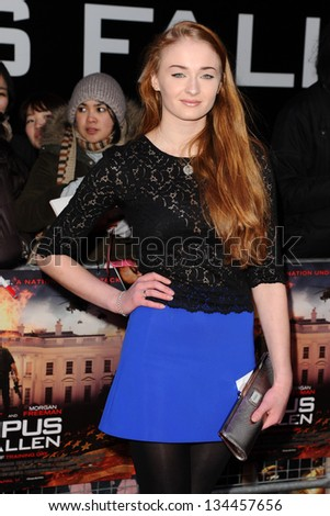 "Sophie Turner arriving for the ""Olympus has Fallen"" premiere at the Imax South Bank, London. 03/04/2013 Picture by: Steve Vas"