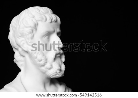 Sophocles (496 BC - 406 BC) was an ancient Greek tragedians of the classical era. White marble bust of him