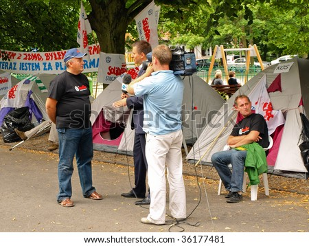 SOPOT - AUGUST 29: The shipyard workers encamped before the house of Prime Minister Donald. Thus want to draw attention to the situation of Polish shipyards, AUGUST 29, 2009 in Sopot, Poland.
